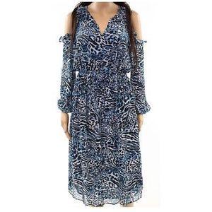 Cold shoulder chiffon midi dress